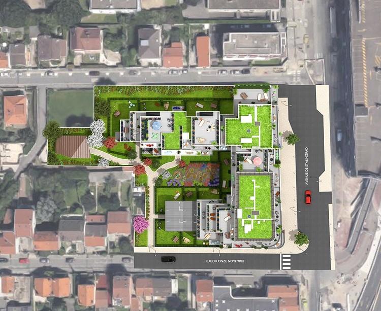 """Plan masse du programme immobilier neuf """"Les Terrasses d'Aragon"""" à Villejuif"""