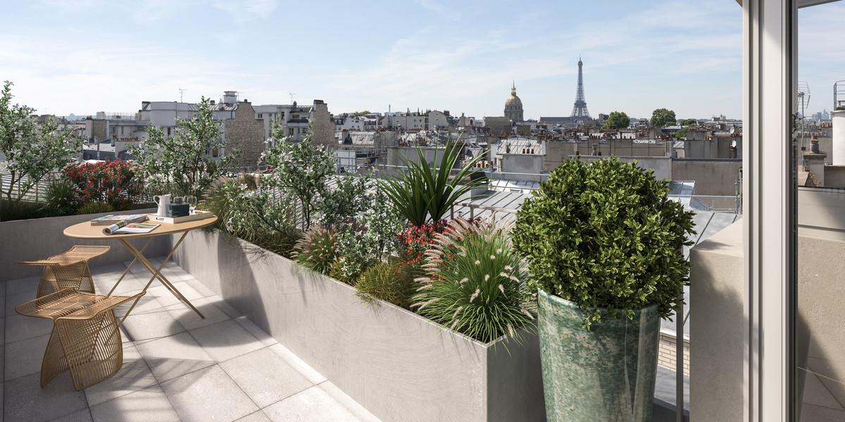 Terrasse avec vue sur la Tour Eiffel du programme immobilier Bac-Raspail-Grenelle