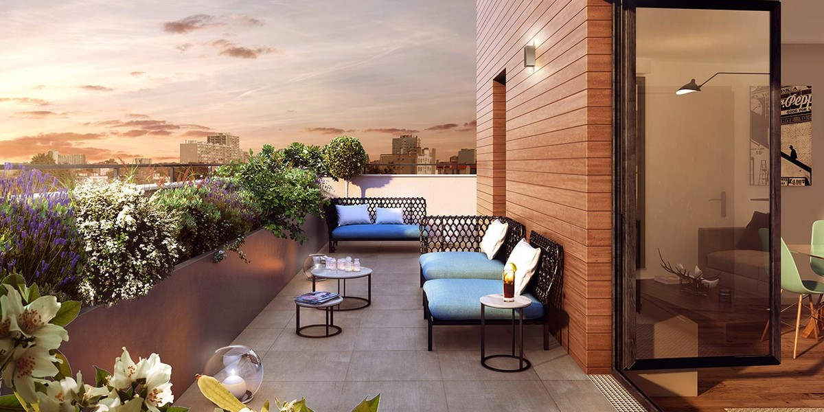 """Terrasse d'un appartement du programme neuf """"Les Terrasses d'Aragon"""" à Villejuif"""