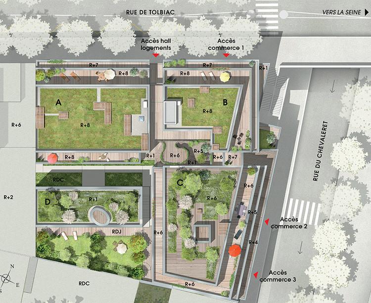 Plan masse du programme immobilier 7 rue de Tolbiac à Paris 13