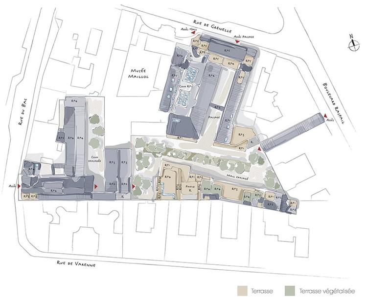Plan masse du programme immobilier Bac-Raspail-Grenelle à Paris 7