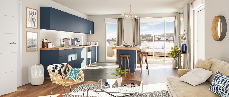 Salon et cuisine d'un appartement du programme Carré de l'Arsenal à Rueil