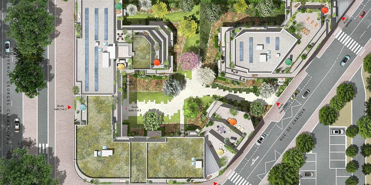 Plan masse du programme immobilier neuf 1 Rue de Craïova à Nanterre