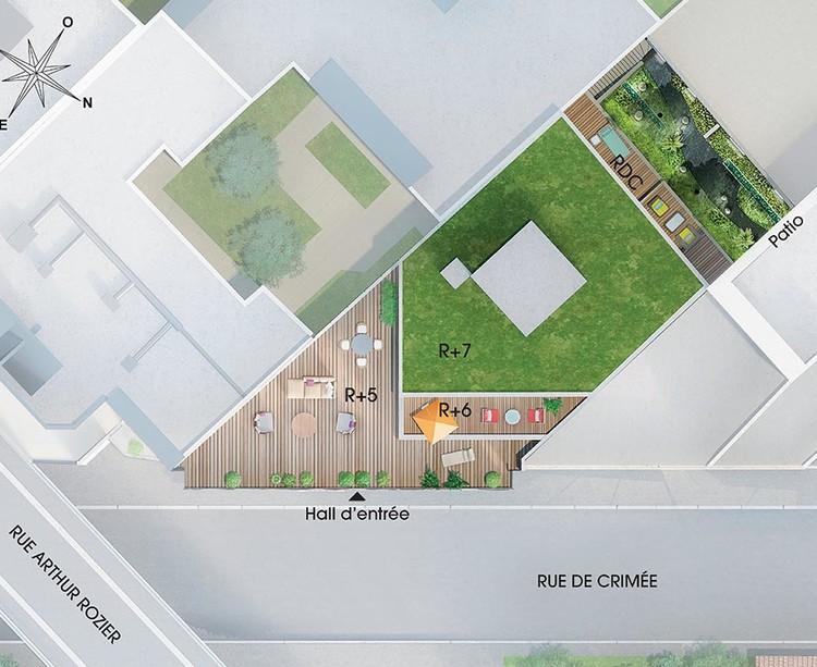 Plan masse du programme immobilier neuf 23 Crimée à Paris 19