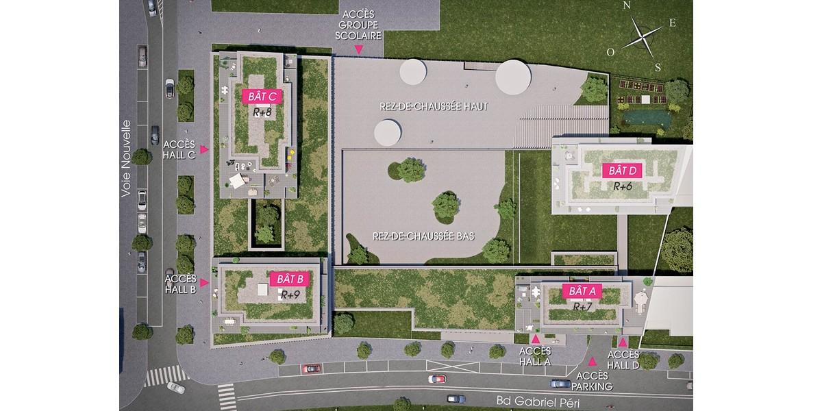 Plan masse du programme immobilier neuf 164 Gabriel Péri à Rosn