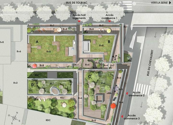 Plan masse du programme immobilier neuf 7 rue de Tolbiac à Paris 13