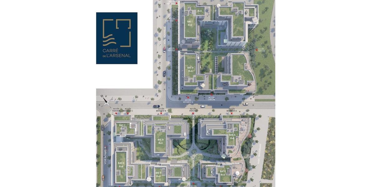 Plan masse du programme immobilier neuf Carré de l'Arsenal à Rueil-Malmaison