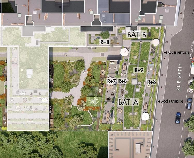Plan masse du programme immobilier neuf Rue Petit à Paris 19
