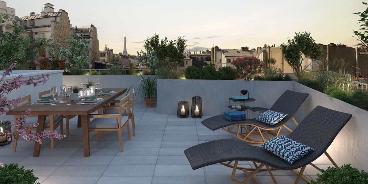 Terrasse avec vue su Paris du programme immobilier neuf Bac-Raspail-Grenelle