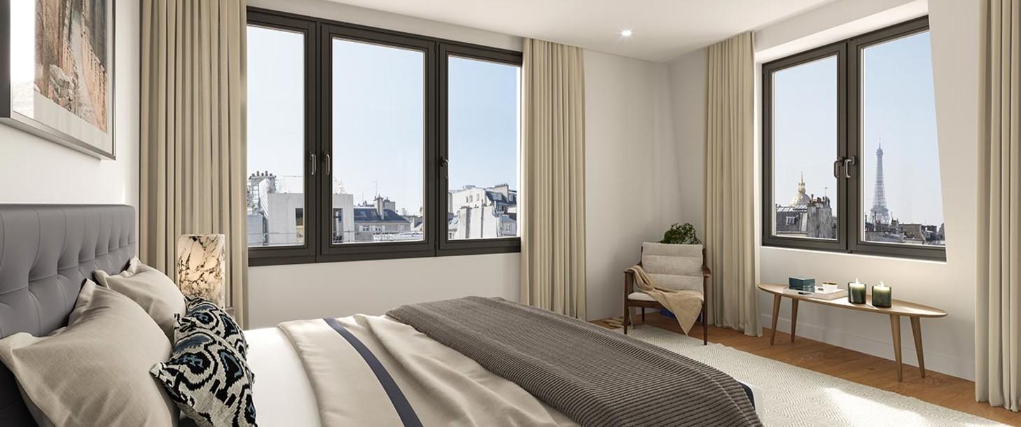 Chambre d'un appartement du programme Bac-Raspail-Grenelle
