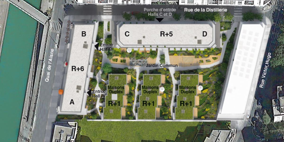 Plan masse du programme immobilier neuf 26 Quai de l'Aisne à Pantin