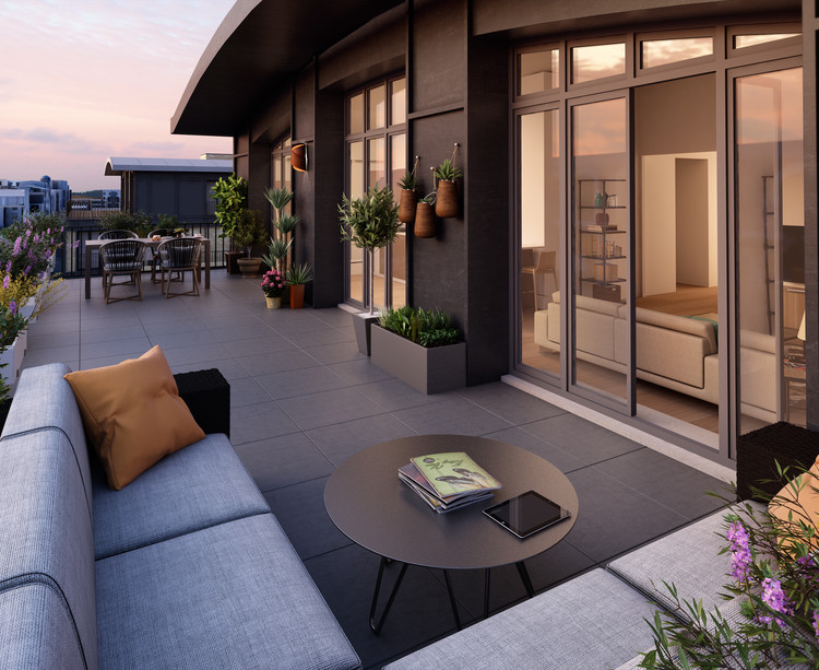 Terrasse du programme immobilier neuf Quartier des Arts à Puteaux