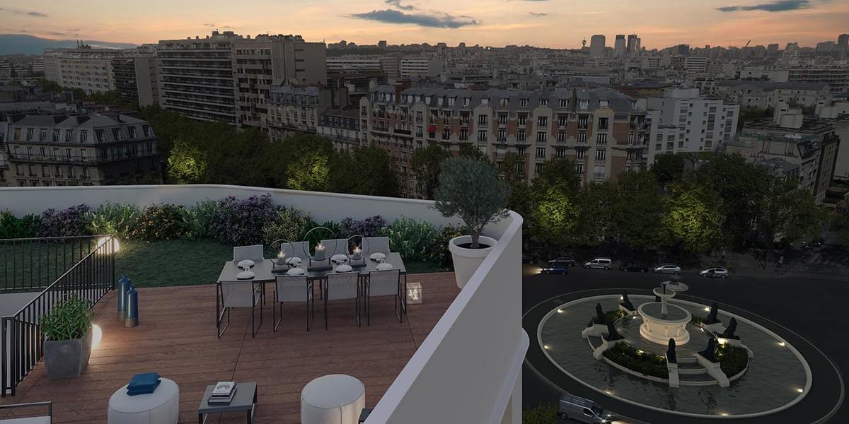 Terrasse du programme immobilier neuf Place Félix Eboué à Paris 12