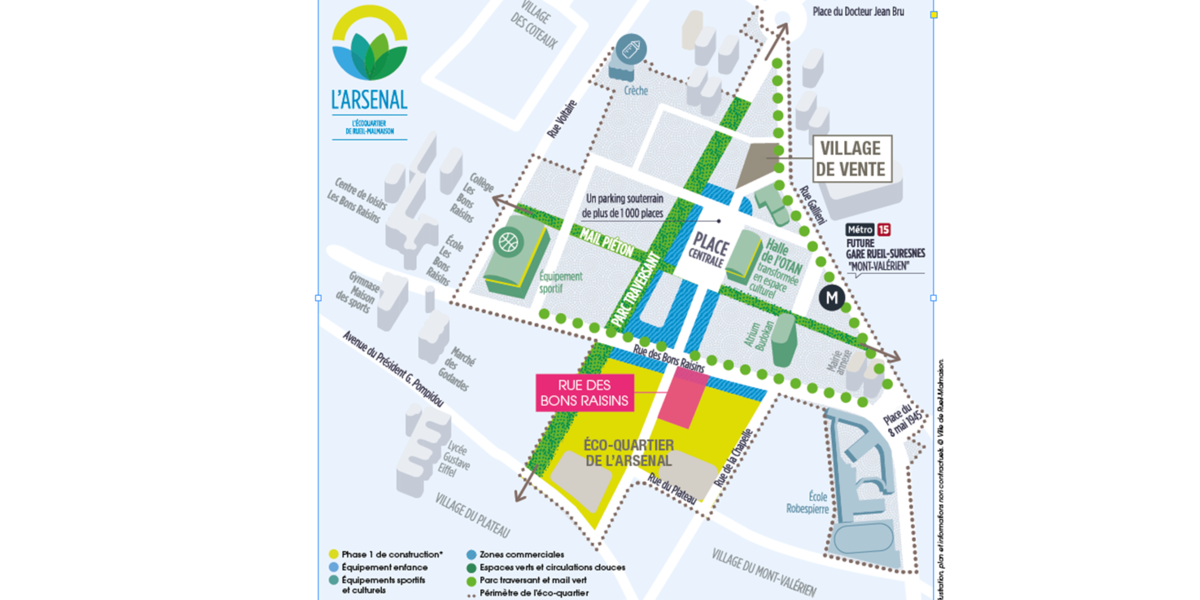 Plan de la ZAC du programme immobilier neuf Rue des Bons Raisins à Rueil-Malmaison