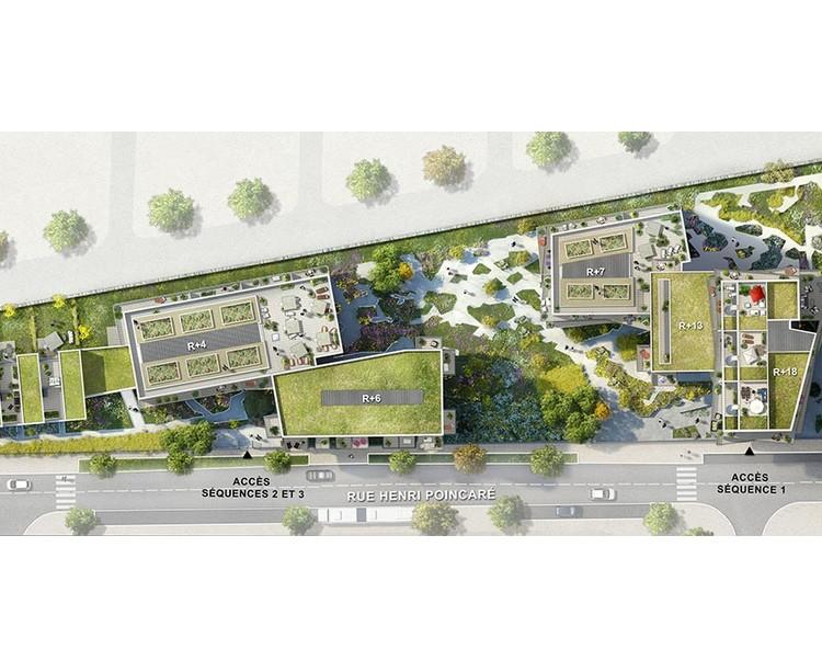 Plan masse du programme immobilier Trilogie à Asnières