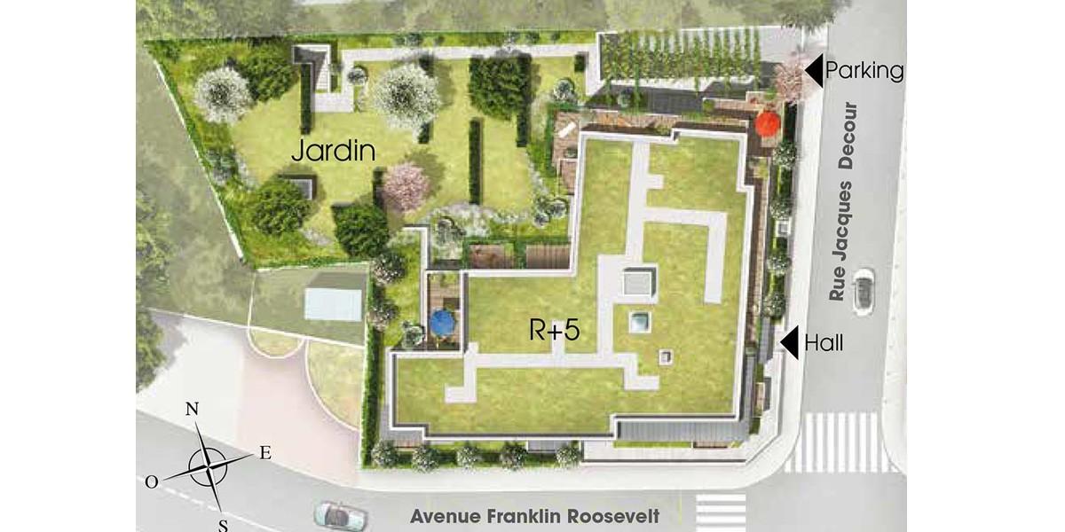 Plan masse du programme immobilier 3 rue Jacques Decour à Suresnes