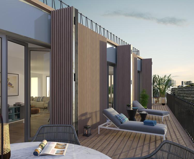 Terrasse d'un appartement du programme immobilier 7 rue de Tolbiac à Paris 13