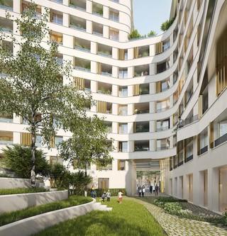 Coeur d'îlot du programme immobilier neuf Place Félix Eboué à Paris 12