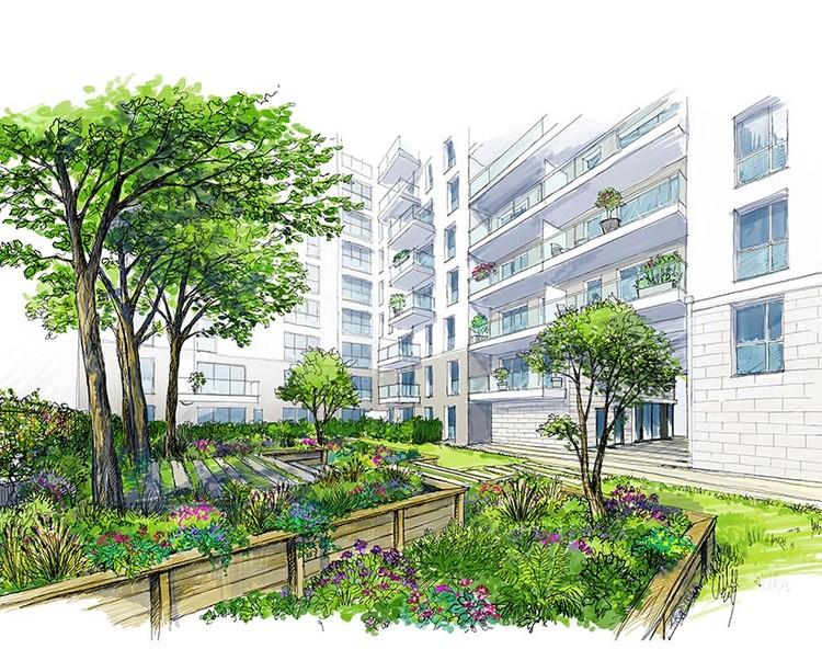 Croquis du jardin du programme immobilier neuf 6 Rue Paul Héroult à Rueil-Malmaison