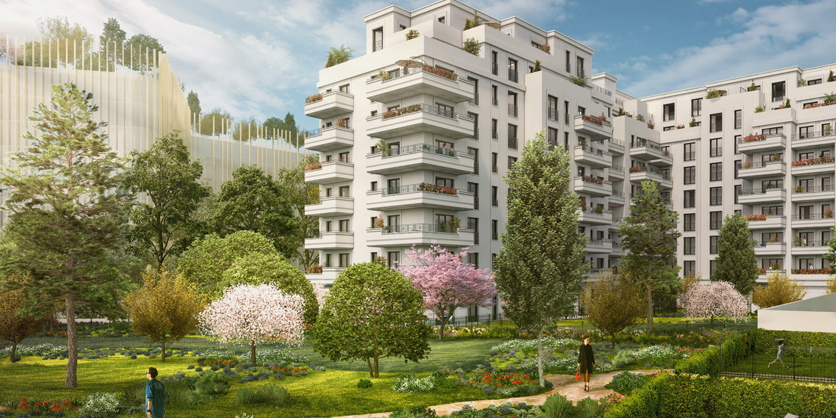 Coeur d'îlot du programme immobilier neuf Vogue à Saint-Ouen