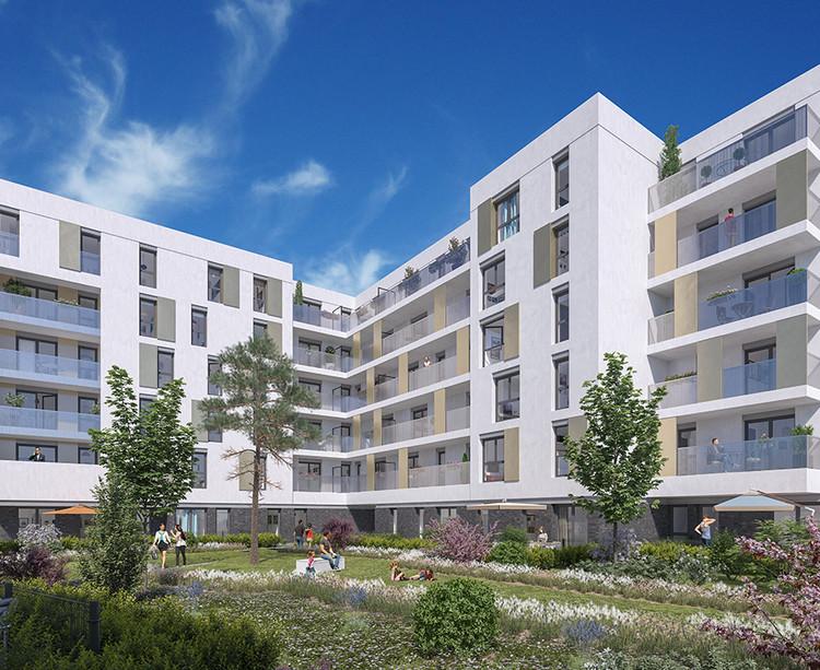 Coeur d'îlot du programme immobilier neuf Mail de l'Hôtel de Ville à La Courneuve