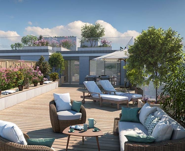 Terrasse d'un appartement du programme immobilier neuf Allée du Parc à Massy