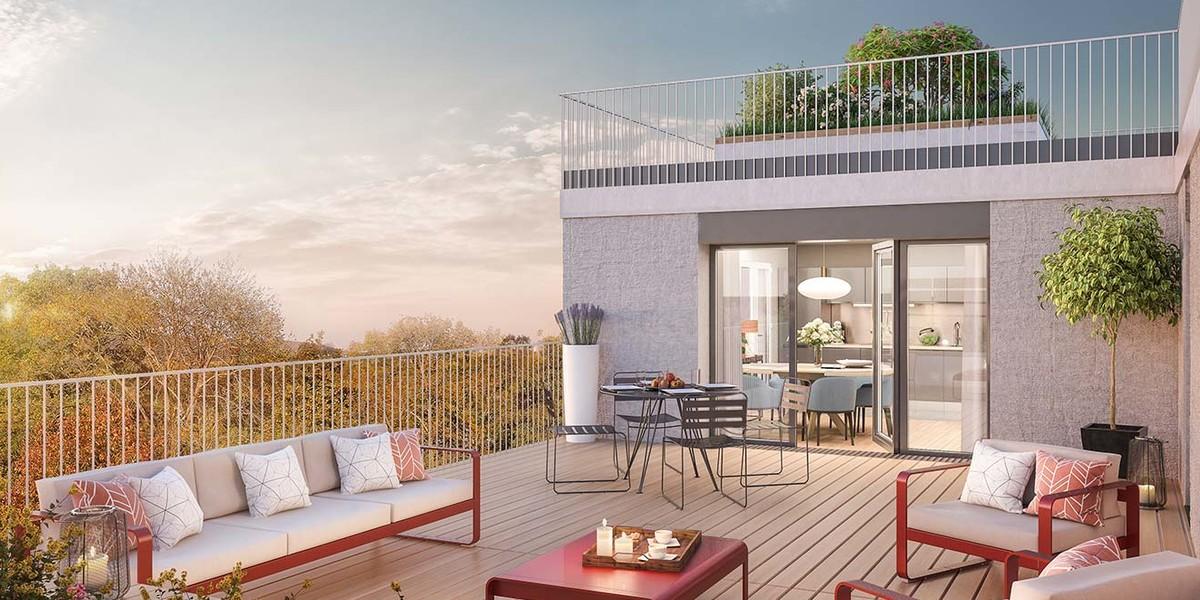 Terrasse du programme immobilier neuf Allée du Parc à Massy
