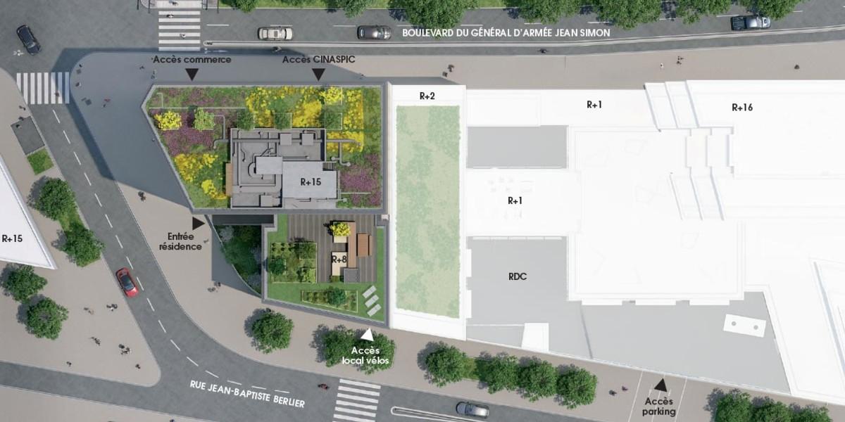 Plan masse du programme immobilier neuf Le Berlier à Paris 13