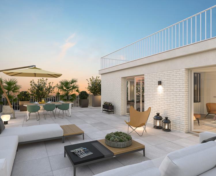 Terrasse (vue nuit) du programme immobilier neuf Rue Edouard Renard à Pantin