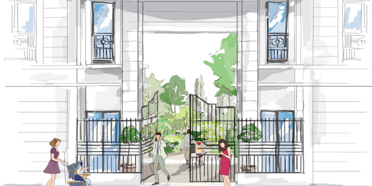 Dessin du porche du programme immobilier neuf Vogue à Saint-Ouen