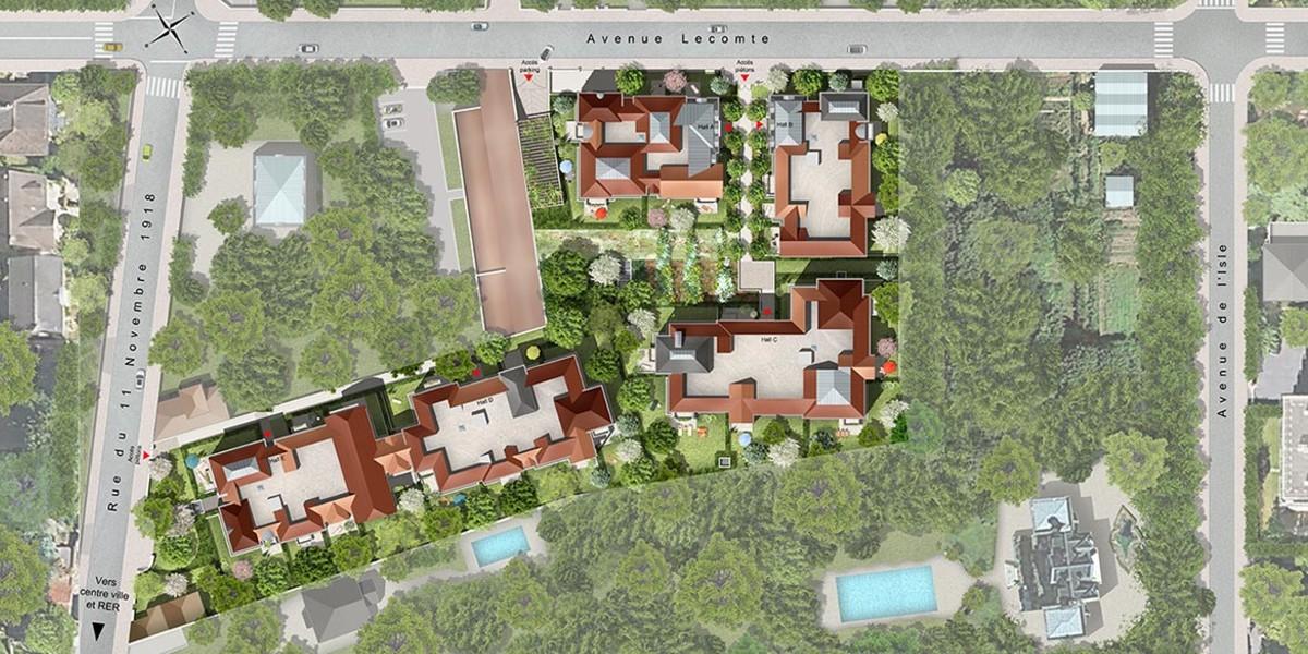 Plan masse du programme immobilier neuf Avenue Lecomte à Villiers-sur-Marne