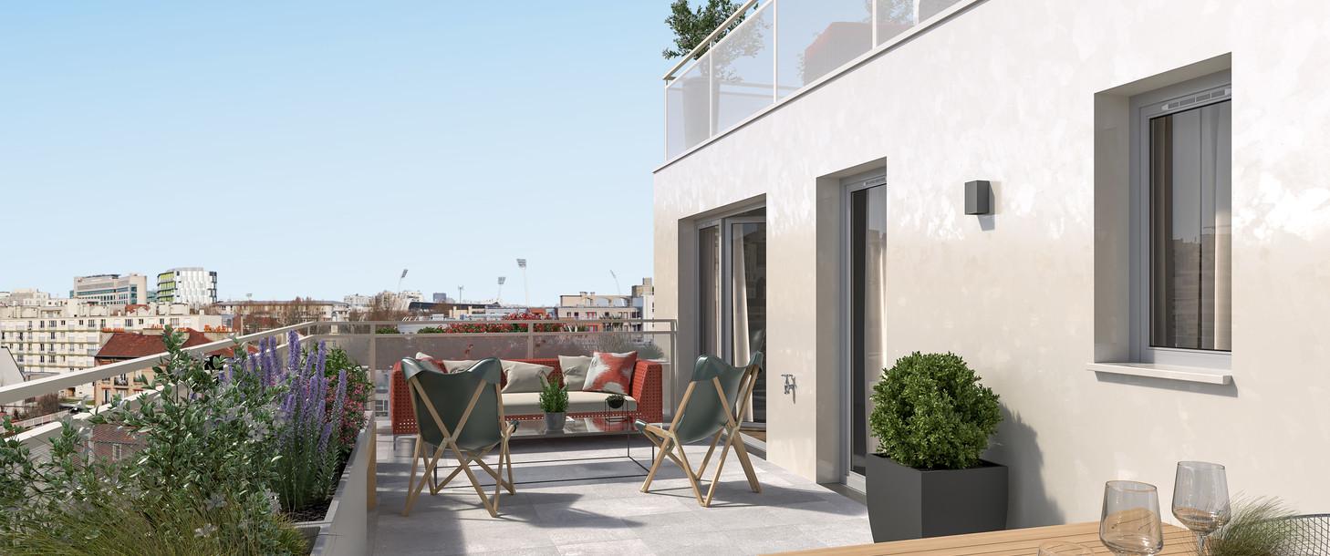Terrasse du programme immobilier neuf 21 Jean Jaurès à Gentilly