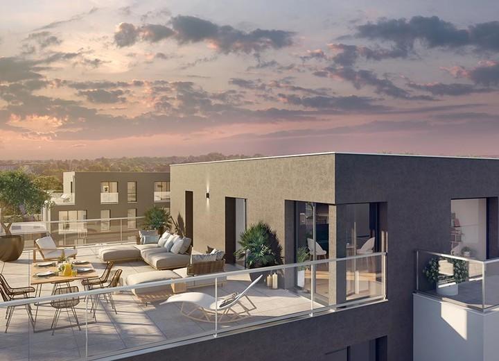 Terrasse d'un appartement neuf du programme immobilier 6 Rue Paul Héroult à Rueil-Malmaison
