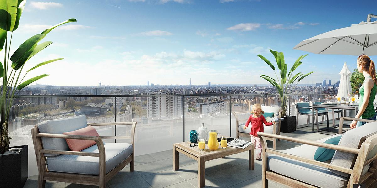 Terrasse d'un appartement neuf du programme immobilier Trilogie à Asnières