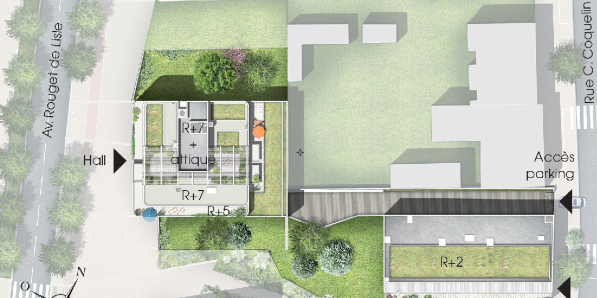 Plan masse de l'immeuble Quartz du programme neuf Variations à Vitry-sur-Seine