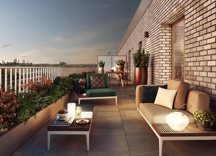 Terrasse d'un appartement neuf de la résidence Rue Petit à Paris 19