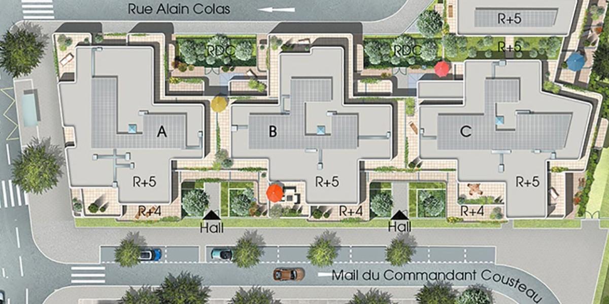 Plan masse du programme immobilier neuf 5 Mail Cousteau à Massy