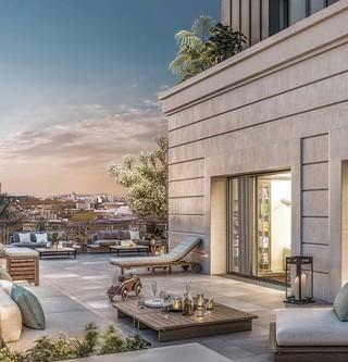 Terrasse de nuit du programme immobilier neuf Vogue à Saint-Ouen