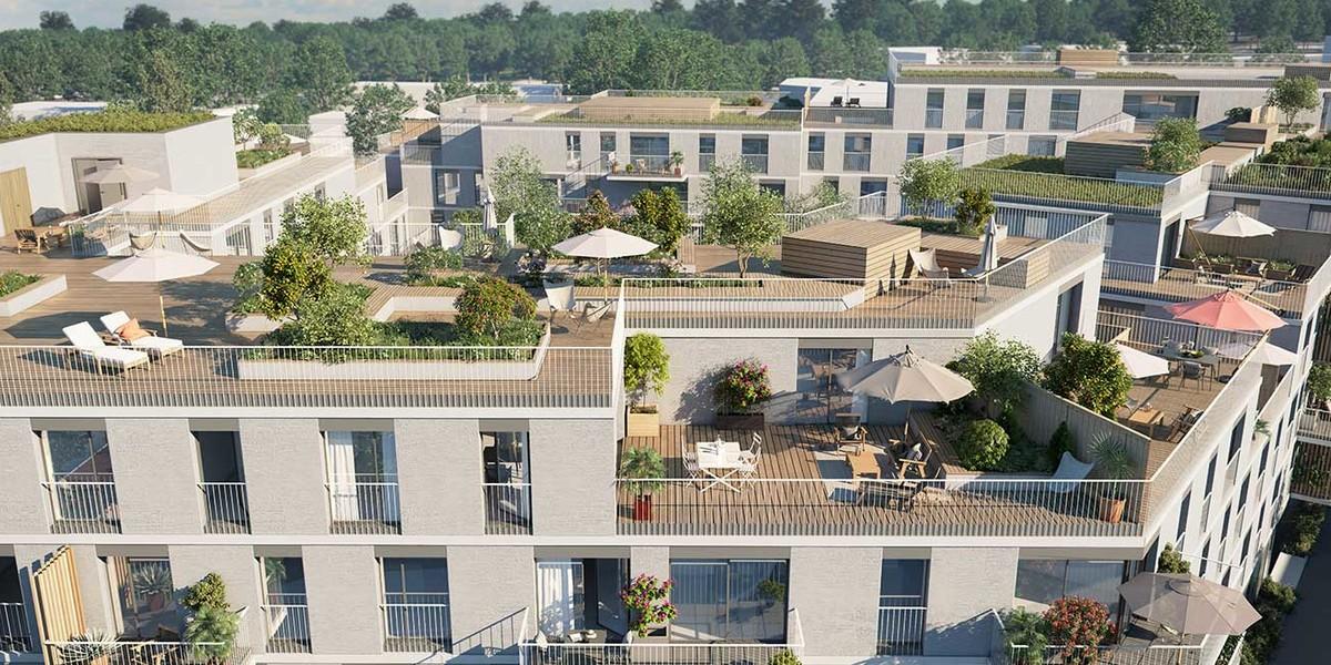Terrasse partagée en toiture du programme immobilier Allée du Parc à Massy