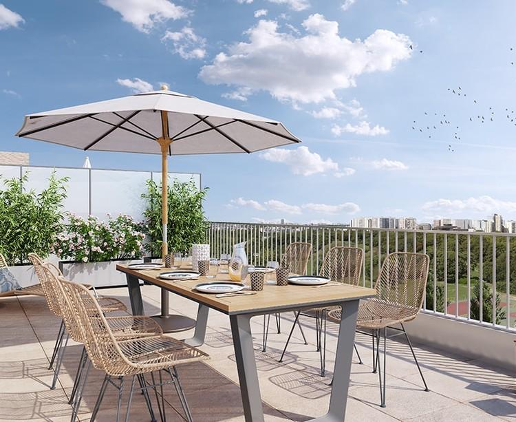 Terrasse d'un appartement du programme Paris Canal - 165 Rue de Paris à Bobigny