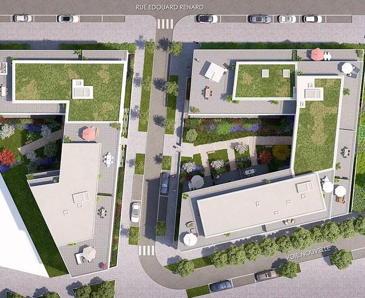 Rue Edouard Renard à Pantin : plan masse de la résidence