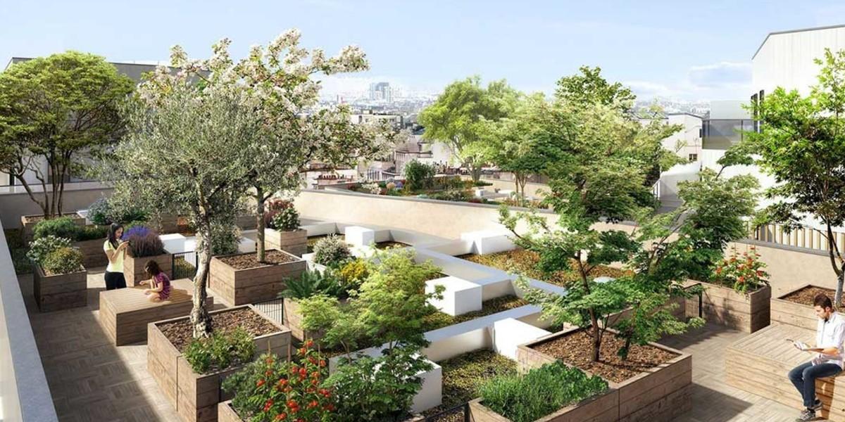 Toiture terrasse du programme immobilier Les Allées Maria Casarès à Gennevilliers