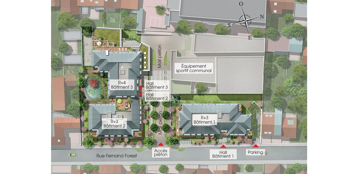Plan masse de la résidence 31 rue Fernand Forest à Suresnes