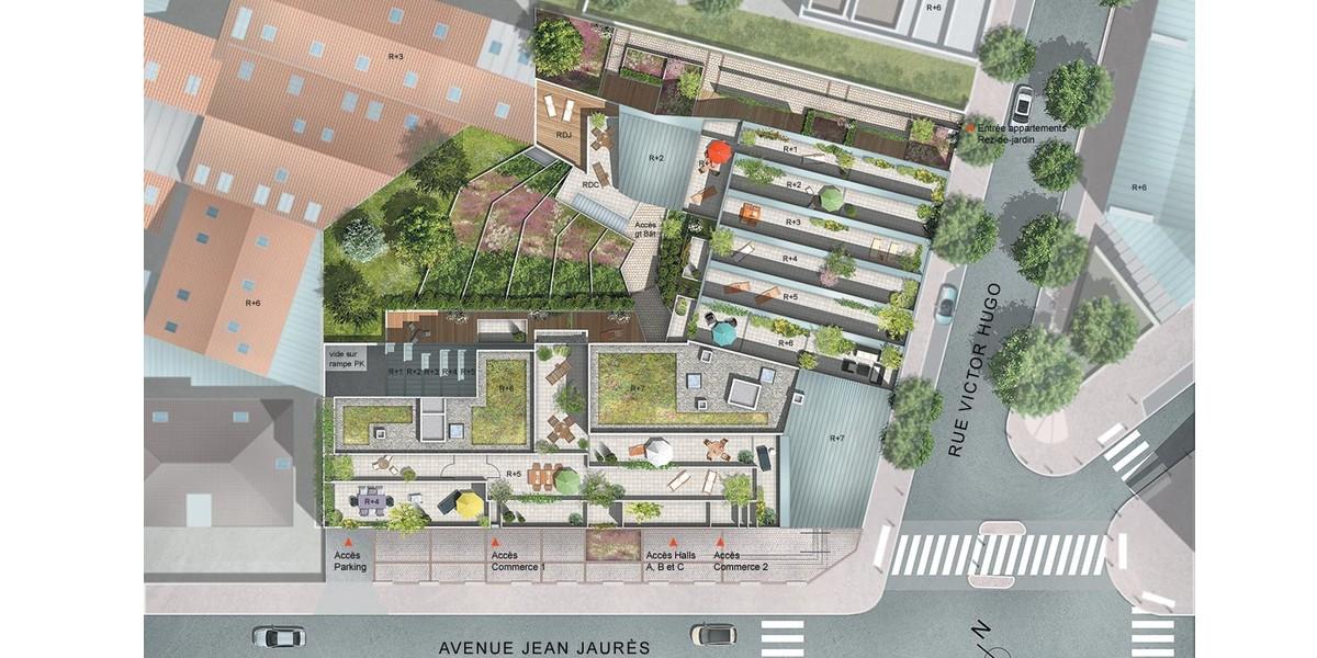Plan masse du programme immobilier neuf 21 Jean Jaurès à Gentilly