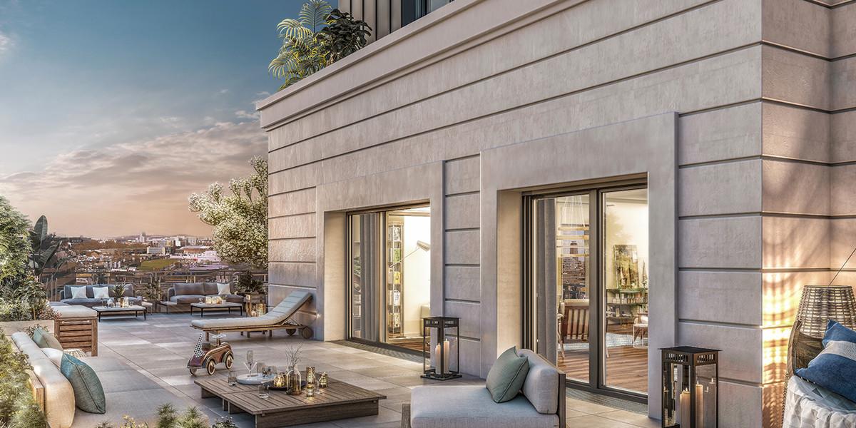 Terrasse vue nuit du programme immobilier neuf Vogue à Saint-Ouen