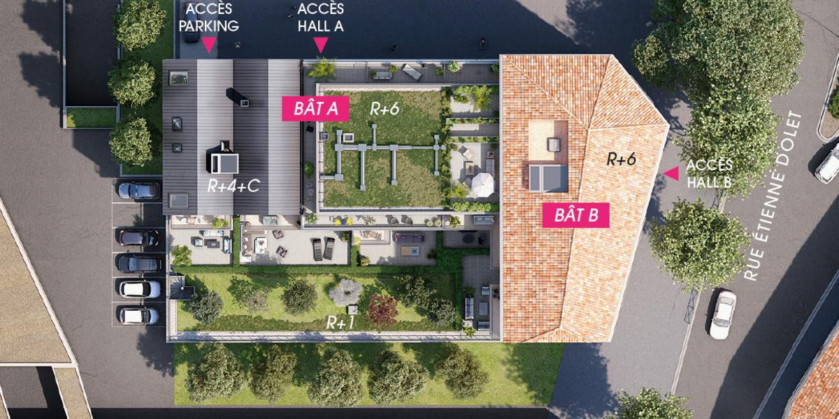 Plan masse du programme immobilier neuf 4 boulevard Carnot à Alfortville