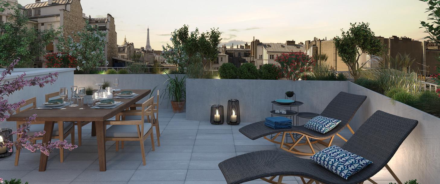 Terrasse du programme immobilier neuf Bac-Raspail-Grenelle à Paris 7