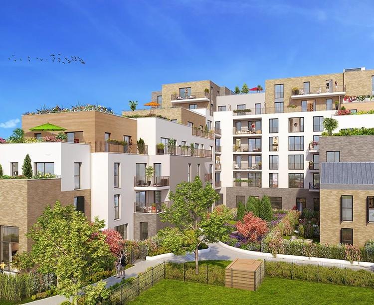 """Coeur d'îlot du programme immobilier neuf """"Les Terrasses d'Aragon"""" à Villejuif"""
