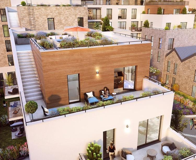 """Terrasses du programme immobilier neuf """"Les Terrasses d'Aragon"""" à Villejuif"""