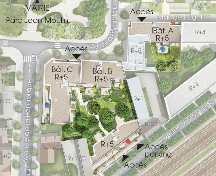 Plan masse du programme immobilier neuf Mail de l'Hôtel de Ville à La Courneuve
